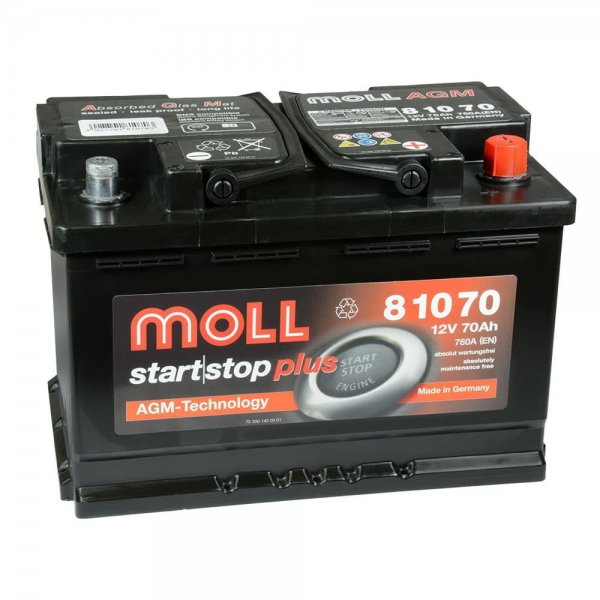 Акумулатор MOLL Start-Stop AGM 12V 70AH